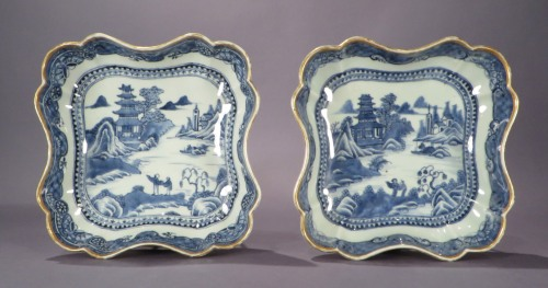 Blue and white shaped dishes 1780