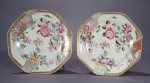 Famille rose french market plates pair 1780