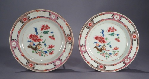 Famille rose pair plates 1735