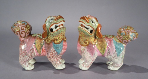 Famille rose standing foo dogs pair