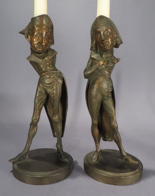 French humorous figural candlesticks detail 1