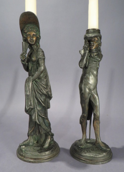 French humorous figural candlesticks detail 2