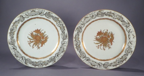 Pair of grisailles chargers