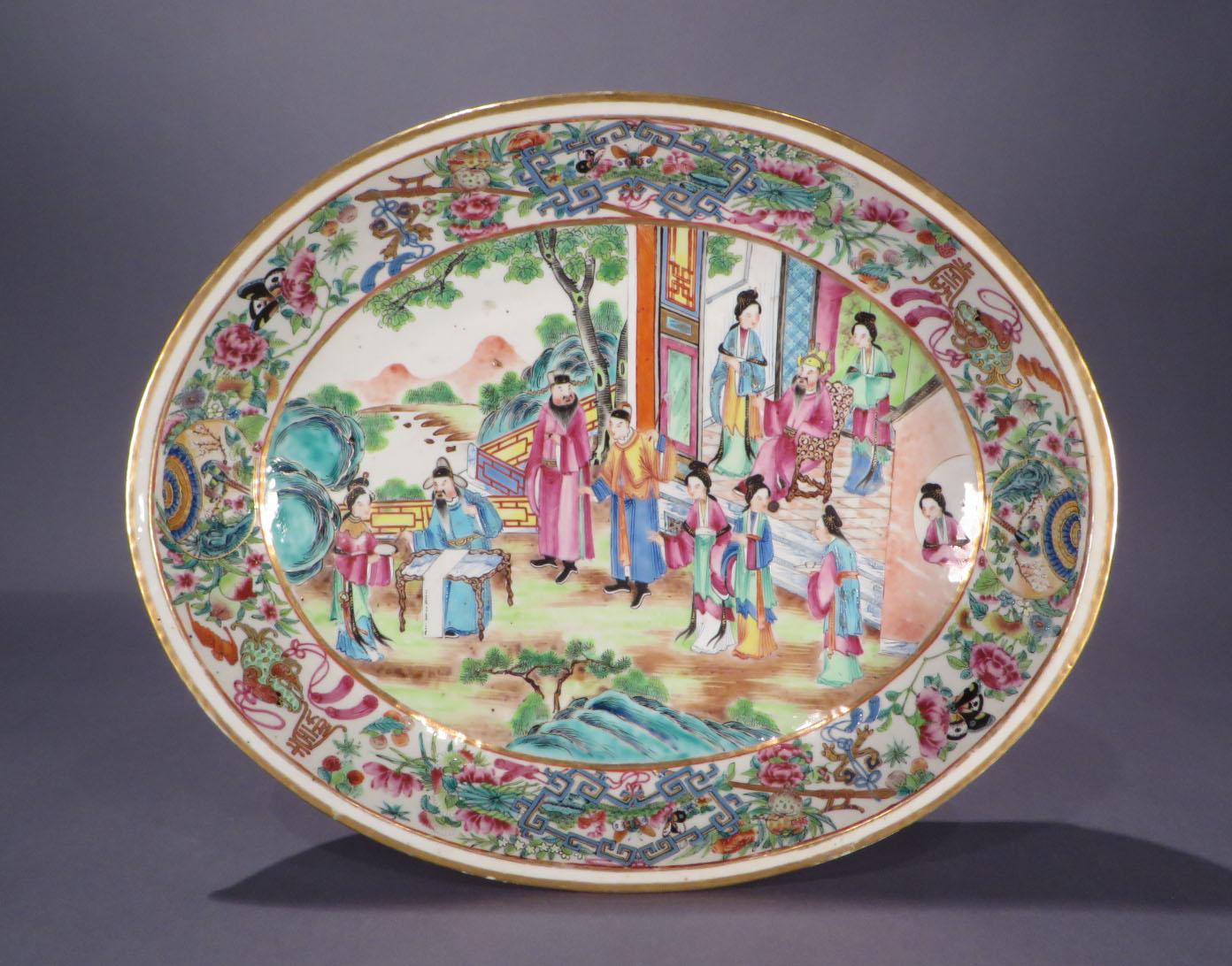 Chinese Rose Mandarin Serving Dish C 1830 on European Antiques Furniture