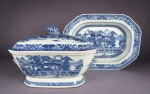 Blue and white tureen canton scene