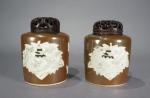 Brown tea caddy pair