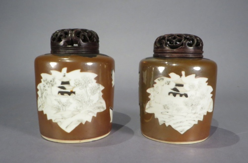 Brown tea caddy pair