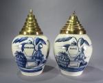 Dutch Delft tobacco jars pair