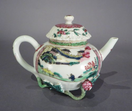 Famille rose lotus pond teapot 2