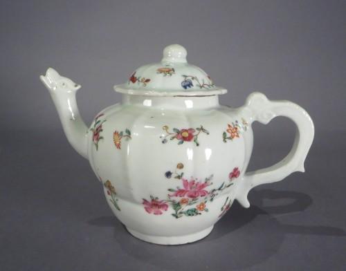 Famille rose moulded teapot