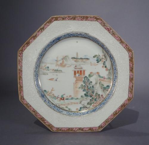 Famille rose octagonal plates 1735 detail 1