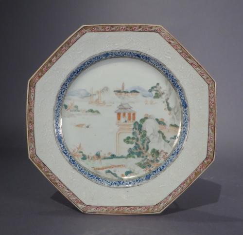 Famille rose octagonal plates 1735 detail 2