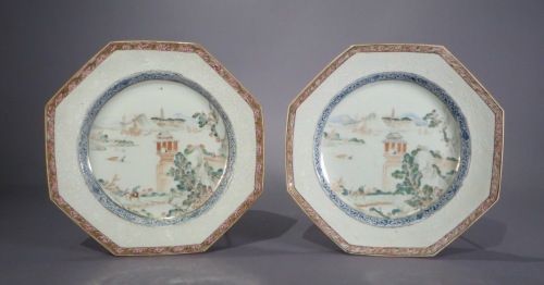 Famille rose octagonal plates 1735