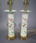 Famille rose trumpet vase lamps