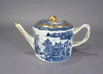 Blue and white drum form teapot 1790