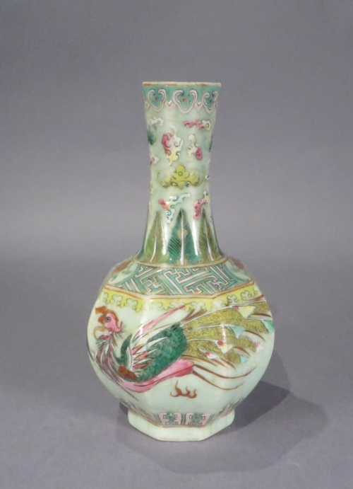 Famille rose celadon octagonal vase 1850 detail