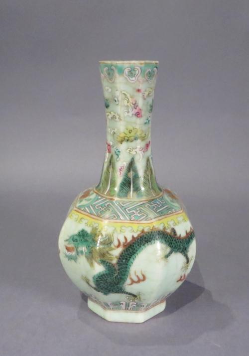 Famille rose celadon octagonal vase 1850