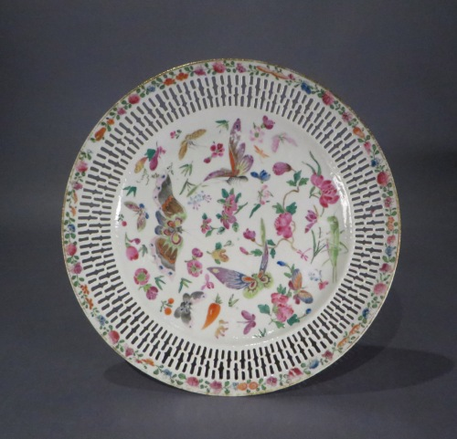 Famille rose reticulated plate pair 1870 detail 2