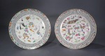 Famille rose reticulated plate pair 1870