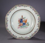 Armorial plate pair arms of Hay Gifford detail