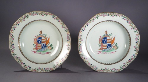 Armorial plate pair arms of Hay Gifford