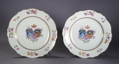 Armorial plate pair arms of Nauta Beuckens Swalue Accolle
