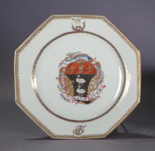 Armorial plate pair honor basis vitae detail