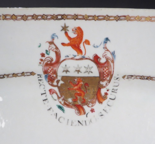 Armorial platter arms of Inglis 1765 detail