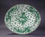 Armorial platter green dragons