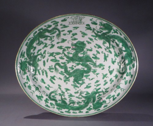 Armorial platter green dragons