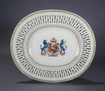 Armorial reticulated platter pair arms of pakenham 1785 detail 1