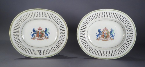 Armorial reticulated platter pair arms of pakenham 1785