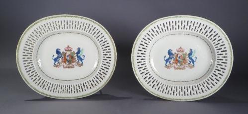 Armorial reticulated platter pair arms of pakenham 1785