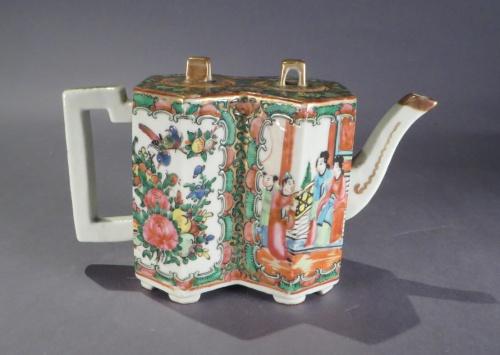 Famille rose double hexagon teapot detail