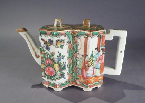 Famille rose double hexagon teapot