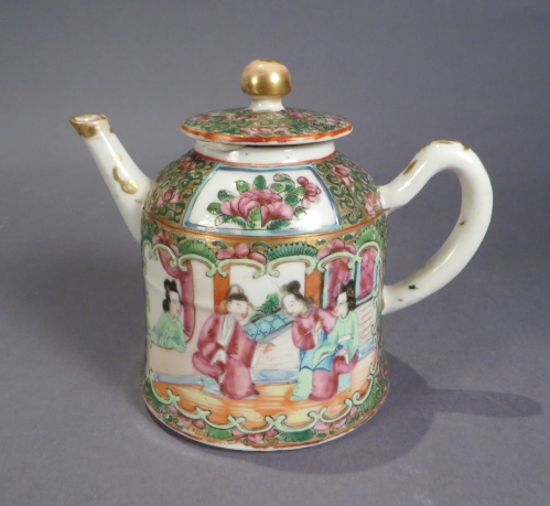 Famille rose small bell form teapot
