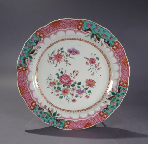 Pair of famille rose plates detail