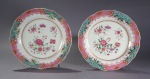 Pair of famille rose plates