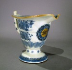 Blue and white fitzhugh gilded helmet pitcher