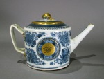 Blue and white fitzhugh gilded teapot