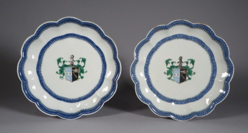 Armorial pair plates arms of oliphant impaling browne 1790