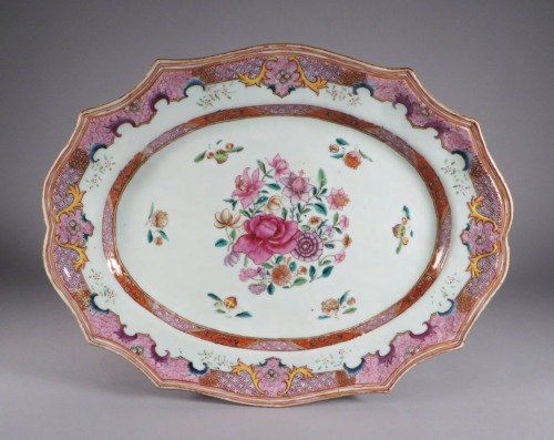 Famille rose continental border platters 1775 detail 1
