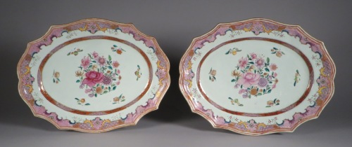 Famille rose continental border platters 1775