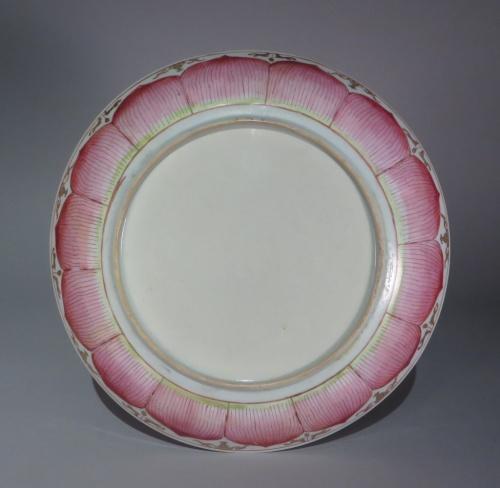 Famille rose lotus ware large saucer detail 1