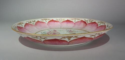 Famille rose lotus ware large saucer detail 2