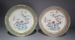 Famille rose reticulated plate 1780 pair
