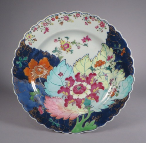 Famille rose tobacco leaf plate pair detail 1