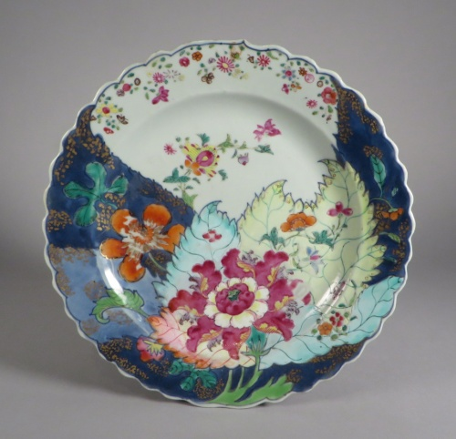Famille rose tobacco leaf plate pair detail 2