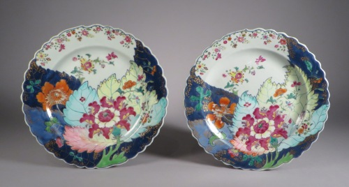 Famille rose tobacco leaf plate pair