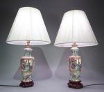 Pair of rose mandarin lamps 1830